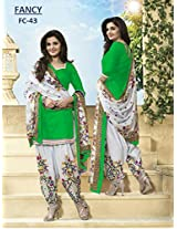 Shree Fashion Woman's Cotton With Dupatta [Shree (27) Green_Green]