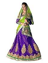 Manvaa Simplistic Purple And Green Net lehenga