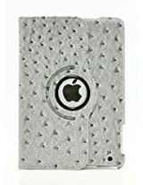 LiViTech(TM) Ostrich Design Series 360 Rotating PU Leather Case Smart Cover for Apple iPad Mini (Gray)