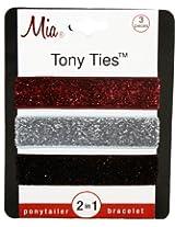 Mia Tony Hair Ties Glitter, Red, Silver, Black