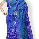 Blue Banarasi Saree With blouse piece