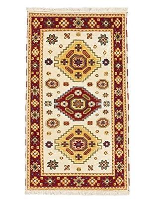 Hand-Knotted Royal Kazak Rug, Cream/Dark Red, 3' x 5' 1