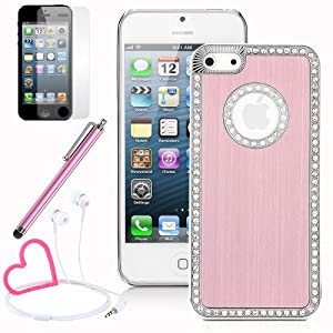 Pandamimi iPhone 5 case - Deluxe Pink Metal Aluminum Diamond Rhinestone Bling Chrome Hard Case Cover for Apple iPhone 5 5G + Stylwire(TM) Pink Heart Stereo Headphones + Screen Protector + Stylus