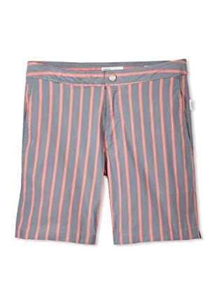 Onia Men's Italian Memory Calder Swim Short (Grey/Red Stripe)