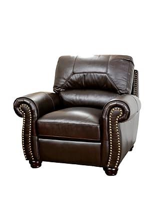 Abbyson Living Berneen Italian Leather Armchair, Dark Truffle