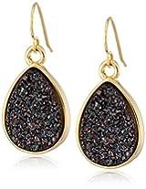 Marcia Moran Mystere Black Druzy Small Drop 18K Gold-Plated Earrings