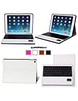 SUPERNIGHT Apple iPad Air 2 Case Cover , iPad Air 2 Keyboard [2nd Generation] 2014 Release Premium Slim Hard Shell Leather Case Cover Wireless Bluetooth Keyboard (White), (With Smart Cover Auto Wake / Sleep) , 3 Year Manufacturer Warranty
