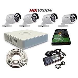 Hikvision 4 Bullet Outdoor Cameras Effective Pixels + Hikvision 4 Channel DVR HDMI/VGA + WD 500 GB Hardisk + 90mtr CCTV wire + SMPS Supply