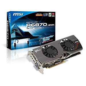 MSI ATI Radeon HD6870 1 GB DDR5 2DVI/HDMI/2x Mini DisplayPort PCI-Express Video Card R6870 HAWK
