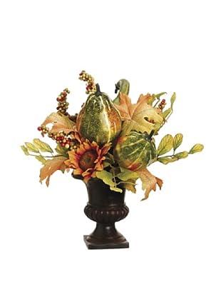 Pumpkin, Sunflower and Berry in A Pot