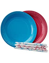 Origami Printed Plates 23cm with Napkins 32 cm - 20 Pieces (Pack of 2)