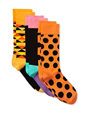 Happy Socks Women's Multi Socks (3 Pairs) (Orange/Black)