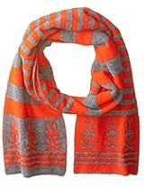 Psycho Bunny Men's Dundee Tubular Knitted Stripe Scarf, Cliff Grey/Orange, One Size
