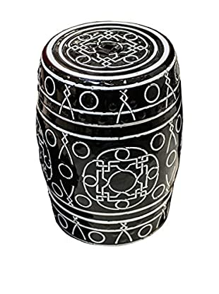 Winward Ceramic Garden Stool, Black/White