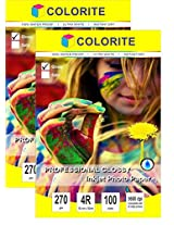 """Colorite 270 gsm 4R (4""""x6"""") /100 Sheets x 2 PACK COMBO (TOTAL 200 Sheets) Professional Glossy RC WATERPROOF Inkjet Photo Paper"""