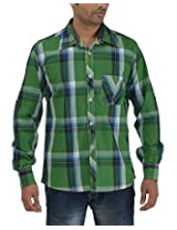 Maxx Shirts Men's Slim Fit Shirt (MX024, Green , 42)
