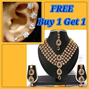 Necklace sets - Buy 1 Get 1 Free White Stone 4 Line Dulhan Necklace Set
