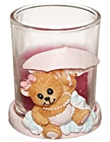 Forum Novelties It's a Girl Baby Pink Teddy Bear Candle Holder Shower Party Favor Decoration