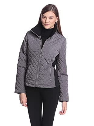 Calvin Klein Women's Quilted Jacket with Ribbed Sides (Titanium)