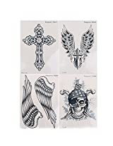 Men Arm Wings Skull Cross Pattern Back Temporary Tattoo Stickers 4 Sheets