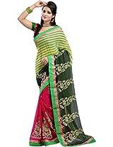 Chandra Silk Mills Green Fancy Floral Print Half Half Party Wear Wedding Saree