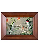 Hummingbirds Enjoy the Simple Things Wood Finish Jewelry Music Box - Plays Tune You Are My Sunshine