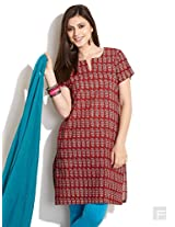 Elegant Block Print Kurta-Red-Xl