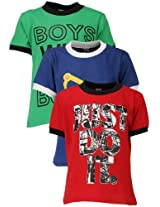 Goodway Junior Boys Colour Style-9 Theme Combo Pack of 3 T-Shirts - 3-4 Years