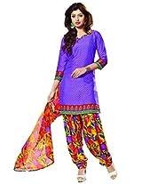 Riti Riwaz Purple Casual Dress materal with matching dupatta PUM7006
