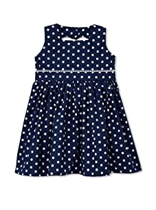 Noa Lily Girl's Dot Heart Cut Out Back Cotton Dress (Navy)