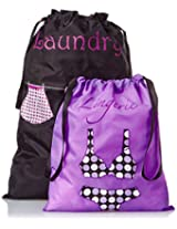 PURE STYLE Girlfriends Women's Travel Drawstring Bag Set Lingerie and Laundry, Purple/Black, One Size