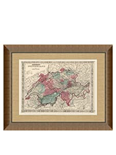 """Johnson and Ward Antique Map of Switzerland, 1860's, 24"""" x 26"""""""
