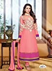Faux Georget Embroiderd Resham Embroidery Light Pink Anarkali Suits - Bfmf36011