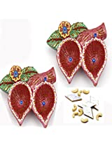 Ghasitaram Gifts Double Diya Set with 400 gms kaju Katli