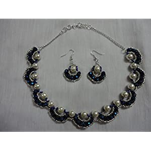 Mona Jewels Pearl Ornate Necklace With Earrings