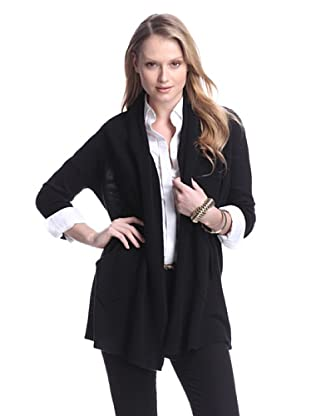 Cashmere Addiction Women's Open Cashmere Cardigan (Black)