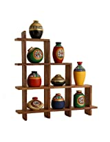 Unravel India 9 Warli painted pots with Sheesham Wooden Frame Brown Frame Multicoloured Pots