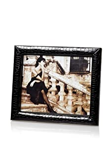 """Tribeca Croc Embossed Faux Leather 8"""" x 10"""" Photo Frame (Black)"""