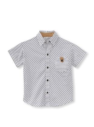 LA Lounge Boy's Striped Button-Up Shirt (Elephant Grey)