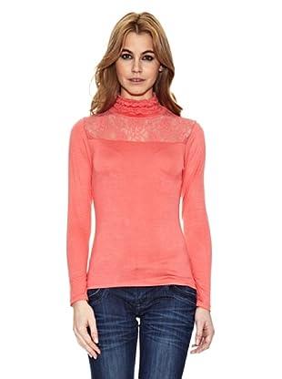 Assuili Camiseta Con Encaje (Coral)
