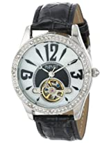 August Steiner Women's AS8034BK Crystal Skeleton Strap Watch