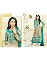 Mrig Women Faux Georgette Salwar Suit Dress Material (El30010 _Biege And Blue _Free Size)