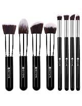 Premium Synthetic Kabuki Makeup Brush Set Cosmetics Foundation Blending Blush Eyeliner Face Powder Brush Makeup Brush Kit (8pcs Silver Black)