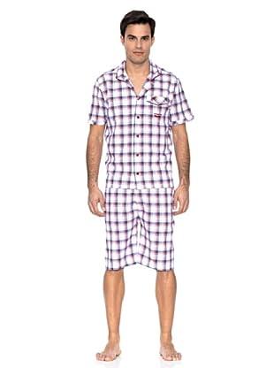 Springfield Pijama Cuadros (Blanco / Violeta)