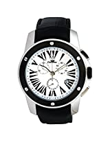 Ciemme Men's Luxury All SS Swiss Chronograph Quartz Black Lthr White Roman Dial Date @4