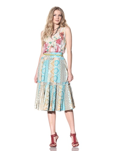 Gregory Parkinson Women's Silk Cotton Voile Skirt (Jade)