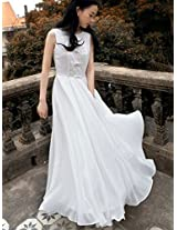 Onlyurs Sweet Bowknot Decorated Lace Chiffon Pure Color Long Dress