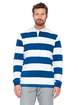 Cortefiel Polo Gestreift (Blau/Weiß)