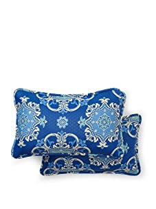 Waverly Set of 2 Sun-n-Shade Garden Crest Rectangle Decorative Throw Pillows (Marine)