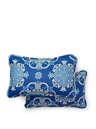 Set of 2 Garden Crest Rectangle Decorative Throw Pillows (Marine)